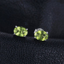 Load image into Gallery viewer, Green Peridot Oval Cut Stud Earrings - 925 Silver - Gifti | Gifts they will love
