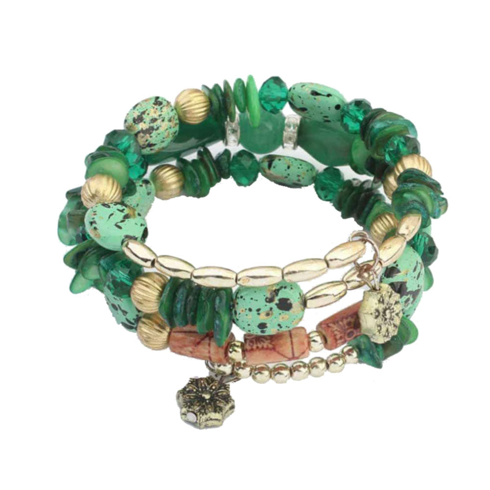 Green Gem Stone Bohemian Wrap Bracelet Stack - Gifti | Gifts they will love