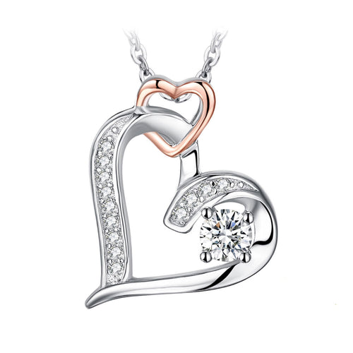 Heart within a Heart Pendant & Necklace - Rose Gold & Crystal Features - Gifti | Gifts they will love