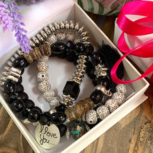 Load image into Gallery viewer, I Love You Tassel Charm Bracelet Stack - Black - Gifti | Gifts they will love