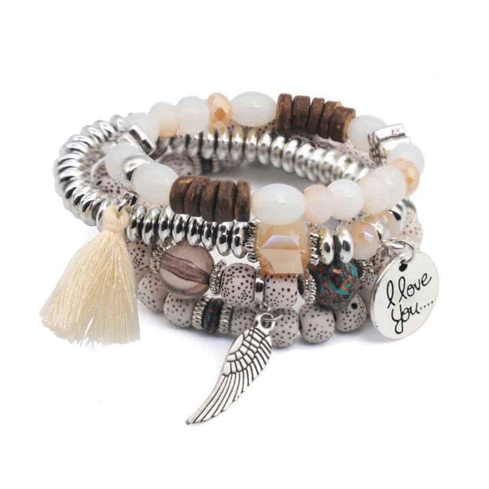I Love You Tassel Charm Bracelet Stack - White - Gifti | Gifts they will love