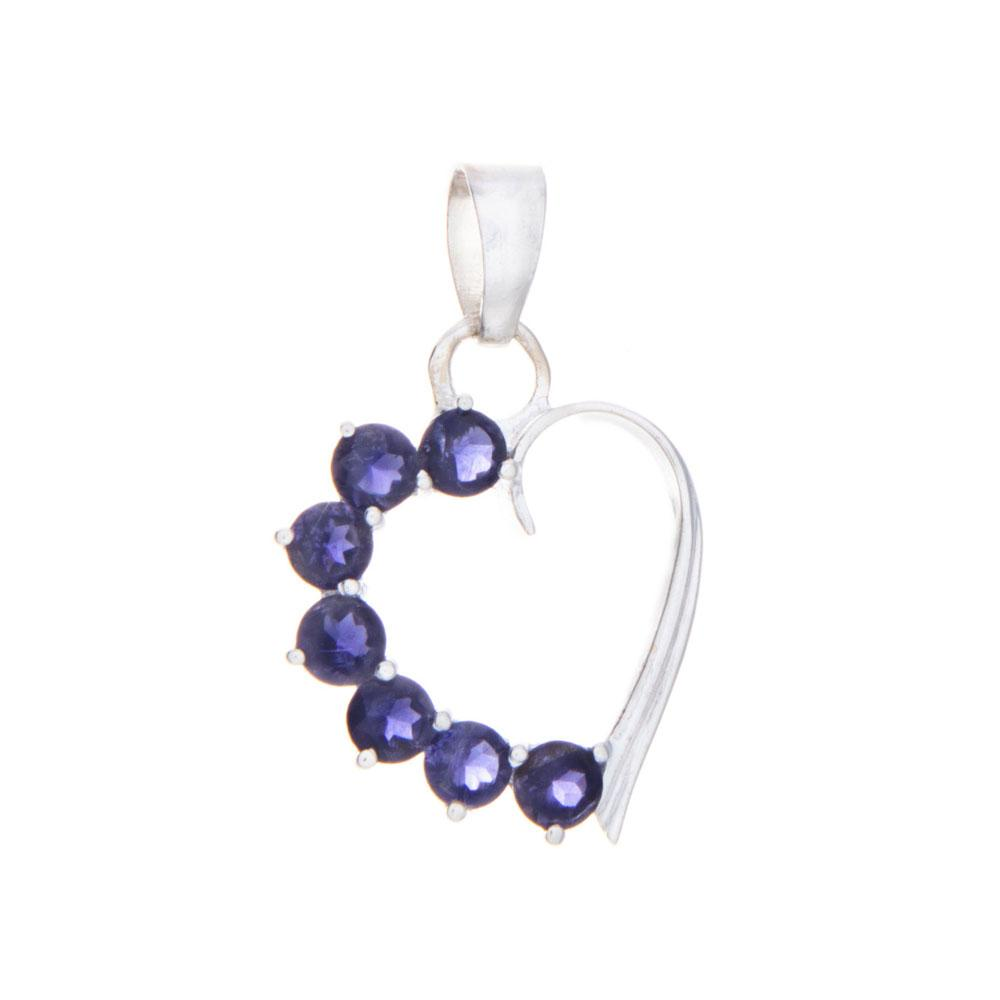 Iolite Heart Pendant and Necklace - 925 Silver - Gifti | Gifts they will love