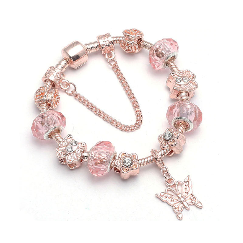 Butterfly Charm Bracelet Rose Gold - 11 Charms - Gifti | Gifts they will love