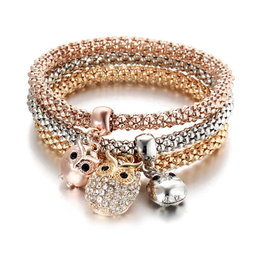 Owl Charms Popcorn Bracelet Stack - Gold Rose and Silver - Gifti | Gifts they will love