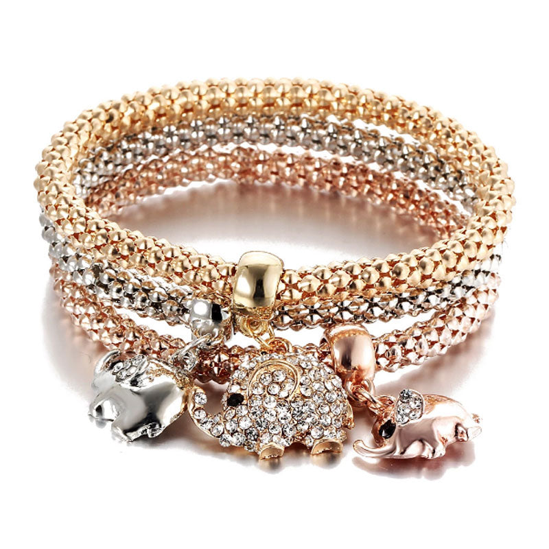 Elephant Charms Popcorn Bracelet Stack - Gold Rose and Silver - Gifti | Gifts they will love