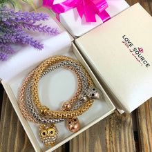 Load image into Gallery viewer, Elephant Charms Popcorn Bracelet Stack - Gold Rose and Silver - Gifti | Gifts they will love