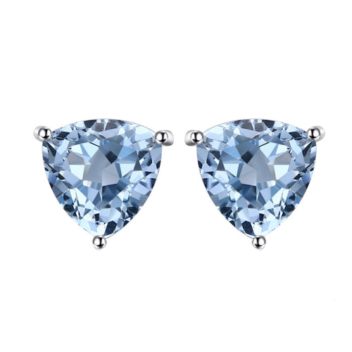 Blue Topaz Triangle Cut Stud Earrings - 925 Silver - Gifti | Gifts they will love