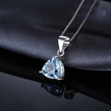 Load image into Gallery viewer, Blue Topaz Triangle Cut Pendant & Necklace - Gifti | Gifts they will love