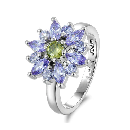 Amethyst & Peridot Fashion Flower Ring - Gifti | Gifts they will love