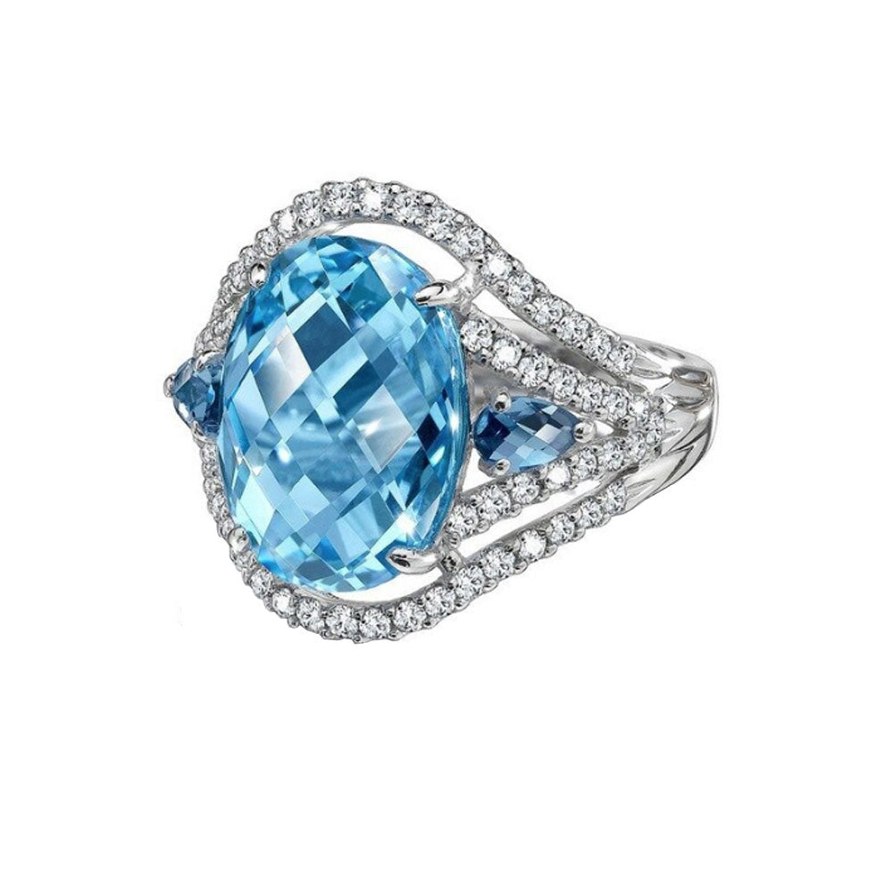 Topaz LC Oval Cut Dress Ring with Cubic Zirconia - Gifti | Gifts they will love