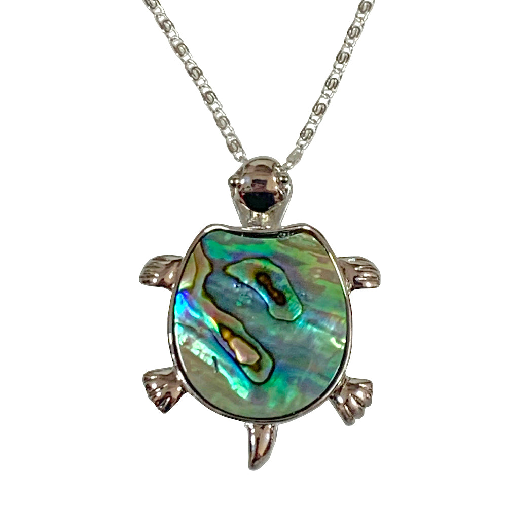 Turtle Pendant & Necklace decorated with Abalone - 925 Silver - Gifti | Gifts they will love