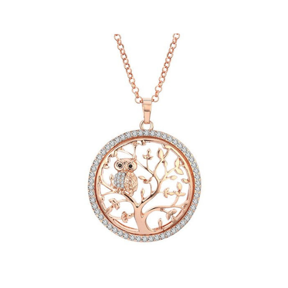 Rose Tree of Life with Owl Pendant Necklace - Gifti | Gifts they will love
