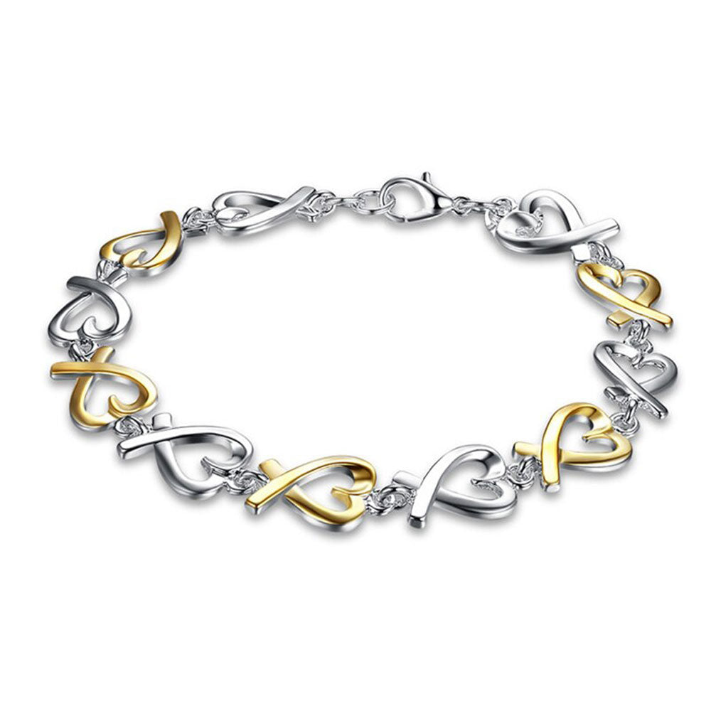 Gold and Silver Heart Bracelet - Gifti | Gifts they will love