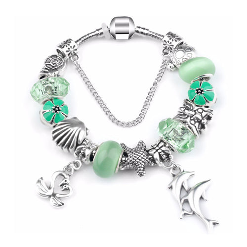 Green Ocean Charm Love Bracelet Silver - 13 Charms - Gifti | Gifts they will love