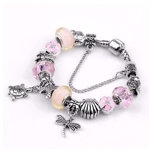 Love Seashore Pink Charm Bracelet Silver - 13 Charms - Gifti | Gifts they will love
