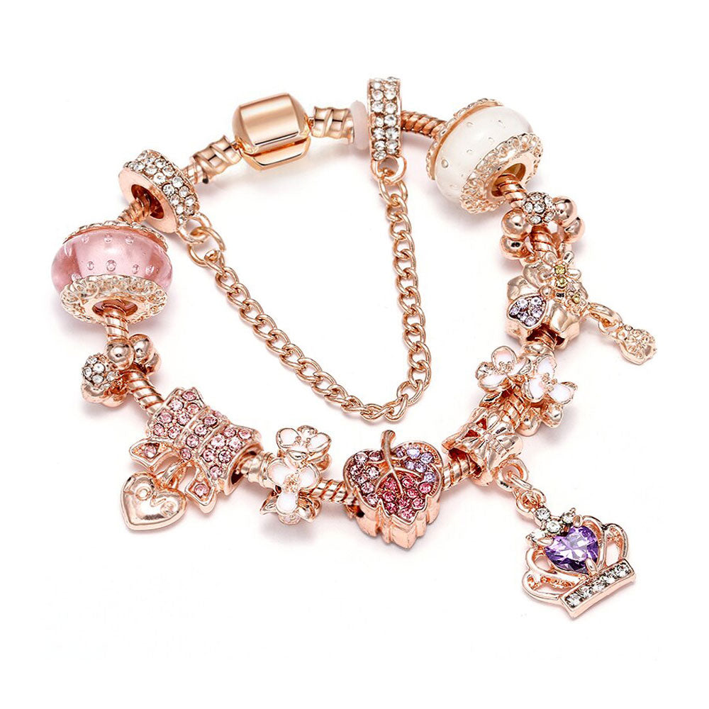 Rose Gold Purple Crown Charm Bracelet - 10 Charms - Gifti | Gifts they will love