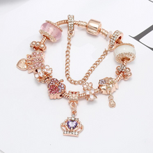 Load image into Gallery viewer, Rose Gold Purple Crown Charm Bracelet - 10 Charms - Gifti | Gifts they will love