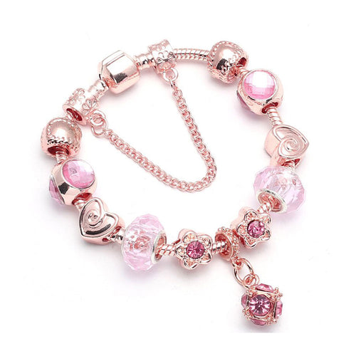 Vintage Rose Crystal Pink Cube Charm Bracelet Silver - 11 Charms - Gifti | Gifts they will love