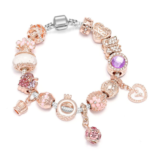 Rose Gold Love Cube & Heart Charm Bracelet - 15 Charms - Gifti | Gifts they will love