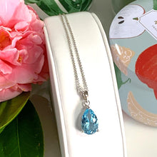 Load image into Gallery viewer, Large Blue Topaz Pear Cut Pendant & Necklace - 925 Silver - Gifti | Gifts they will love