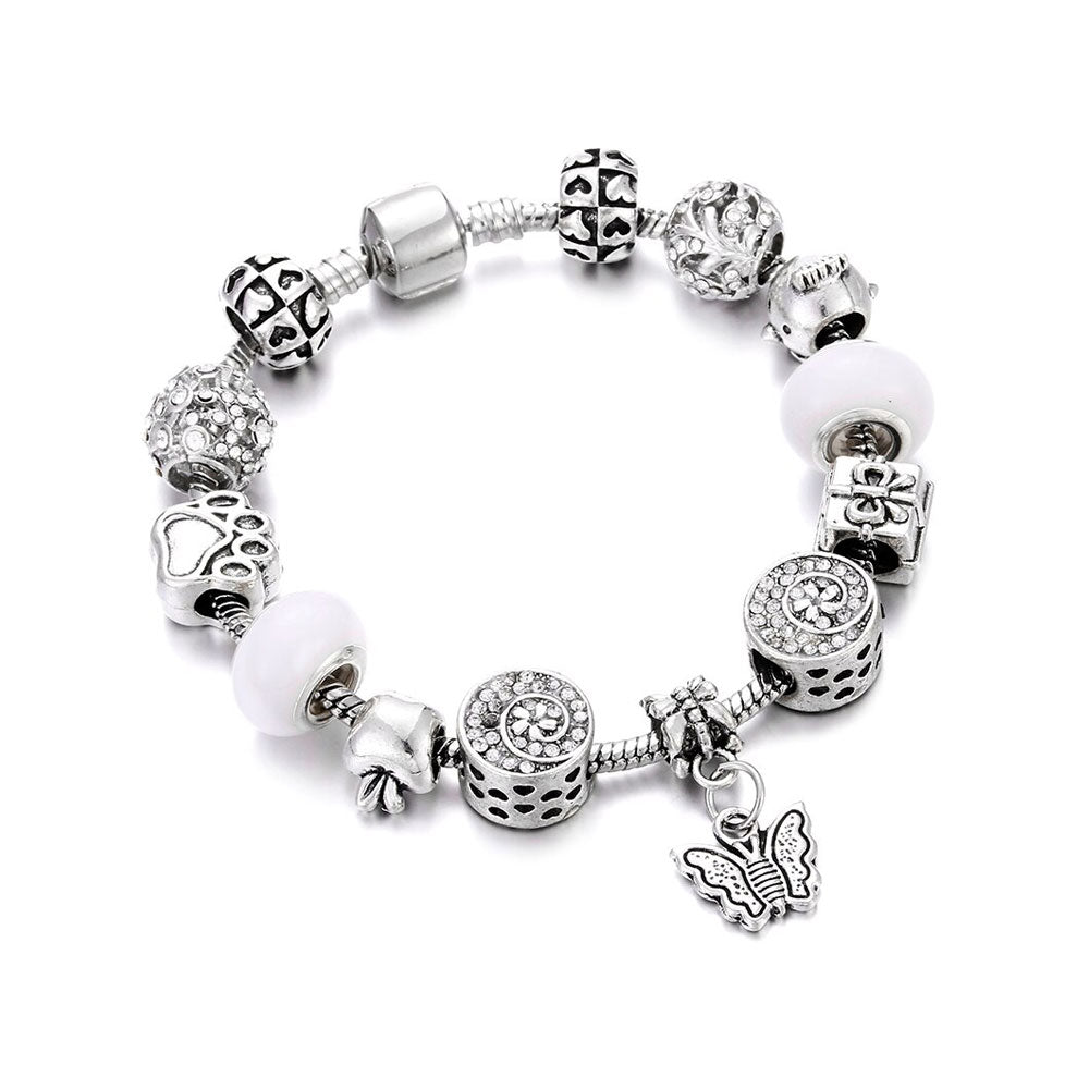 Love Butterfly Charm Bracelet Silver - 13 Charms - Gifti | Gifts they will love