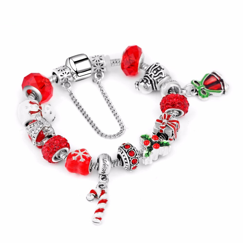 Love Christmas Candy Cane Charm Bracelet - 13 Charms - Gifti | Gifts they will love