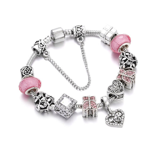 Love Mom Charm Bracelet Pink - 11 Charms - Gifti | Gifts they will love