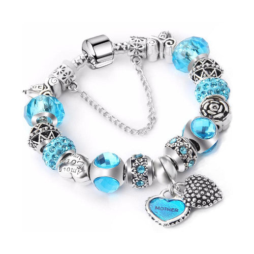 Love Mum Charm Bracelet Vibrant Blue - 17 Charms - Gifti | Gifts they will love