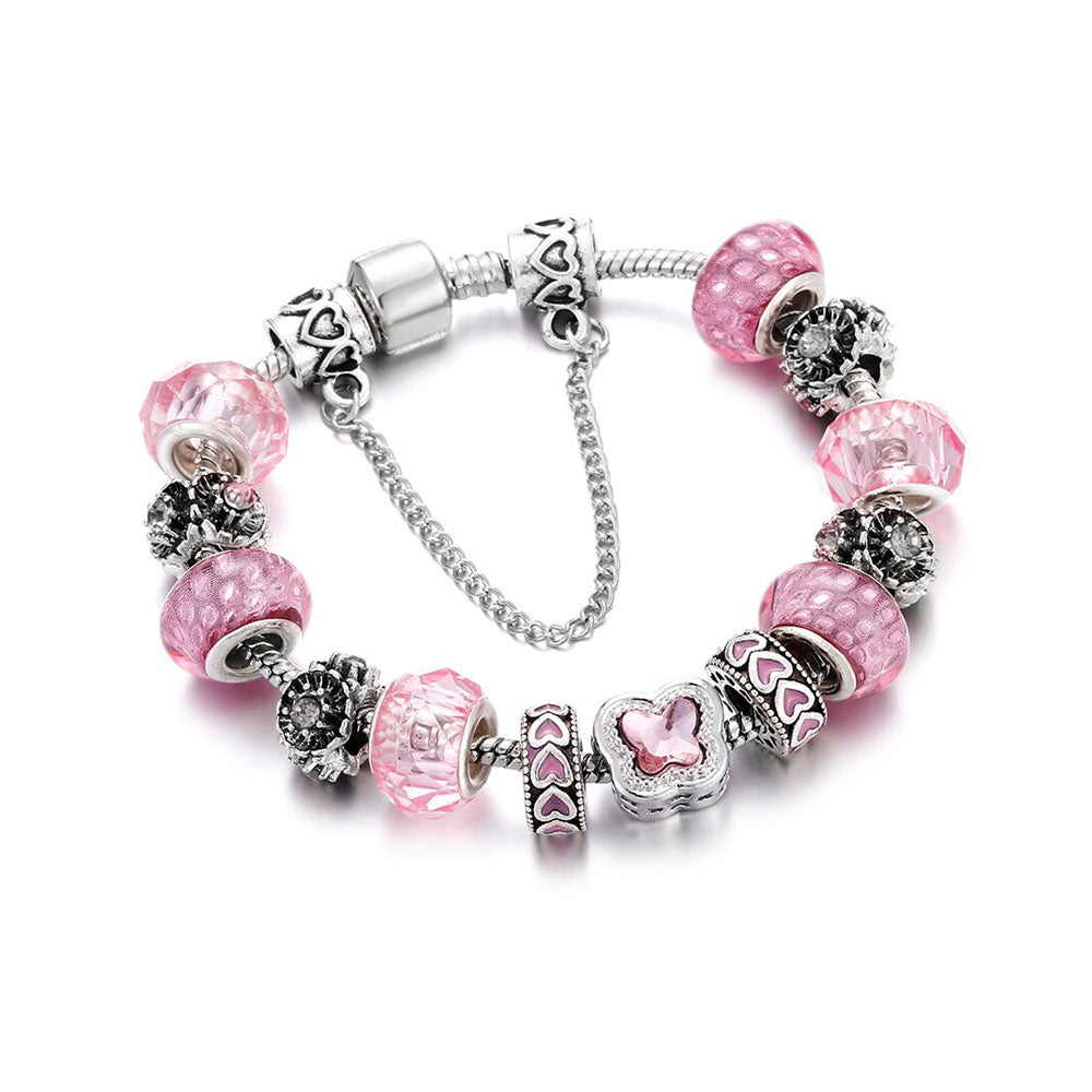 Love Pink Glamour Charm Bracelet - 13 Charms - Gifti | Gifts they will love