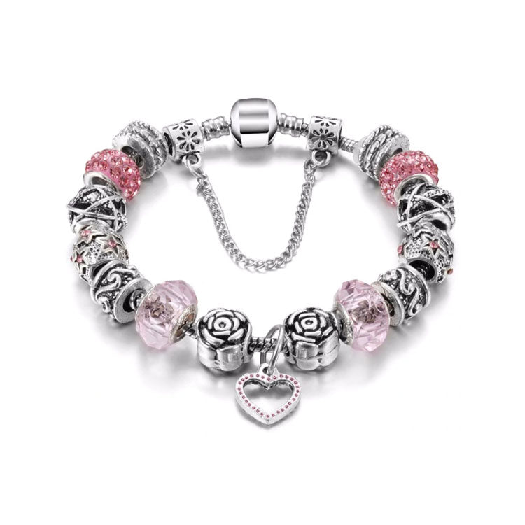 Love Pink Heart Charm Bracelet - 15 Charms - Gifti | Gifts they will love