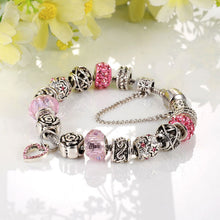 Load image into Gallery viewer, Love Pink Heart Charm Bracelet - 15 Charms - Gifti | Gifts they will love