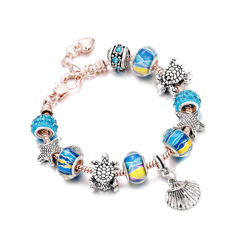 Love Sea Charm Bracelet Blue & Rose Gold - 12 Charms - Gifti | Gifts they will love