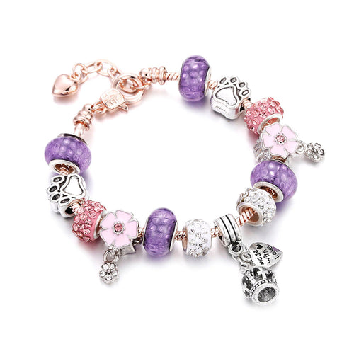 Made for Love Charm Bracelet Purple & Rose Gold - 13 Charms - Gifti | Gifts they will love