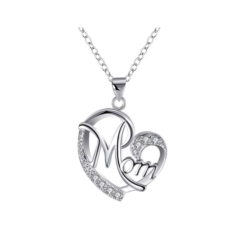 Mom in Heart Pendant & Necklace with Crystal Features - Gifti | Gifts they will love