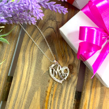 Load image into Gallery viewer, Mom in Heart Pendant & Necklace with Crystal Features - Gifti | Gifts they will love