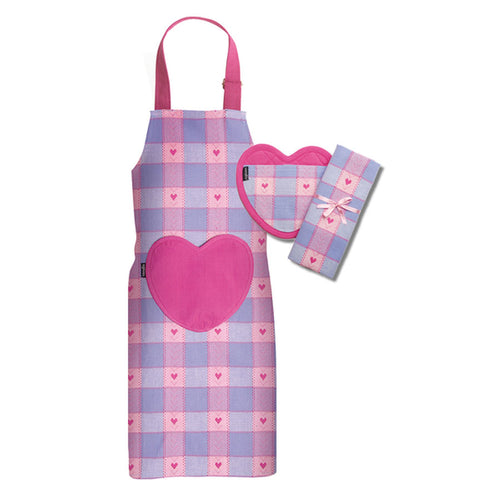 Sweet Hearts Child Apron Set - Purple - Gifti | Gifts they will love