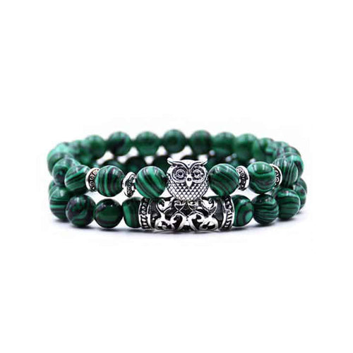 Owl Yoga Bracelet Stack - Malachite - Gifti | Gifts they will love