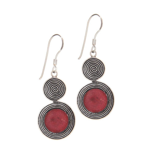 Spiral Earrings decorated with Red Coral - 925 Silver - Gifti | Gifts they will love