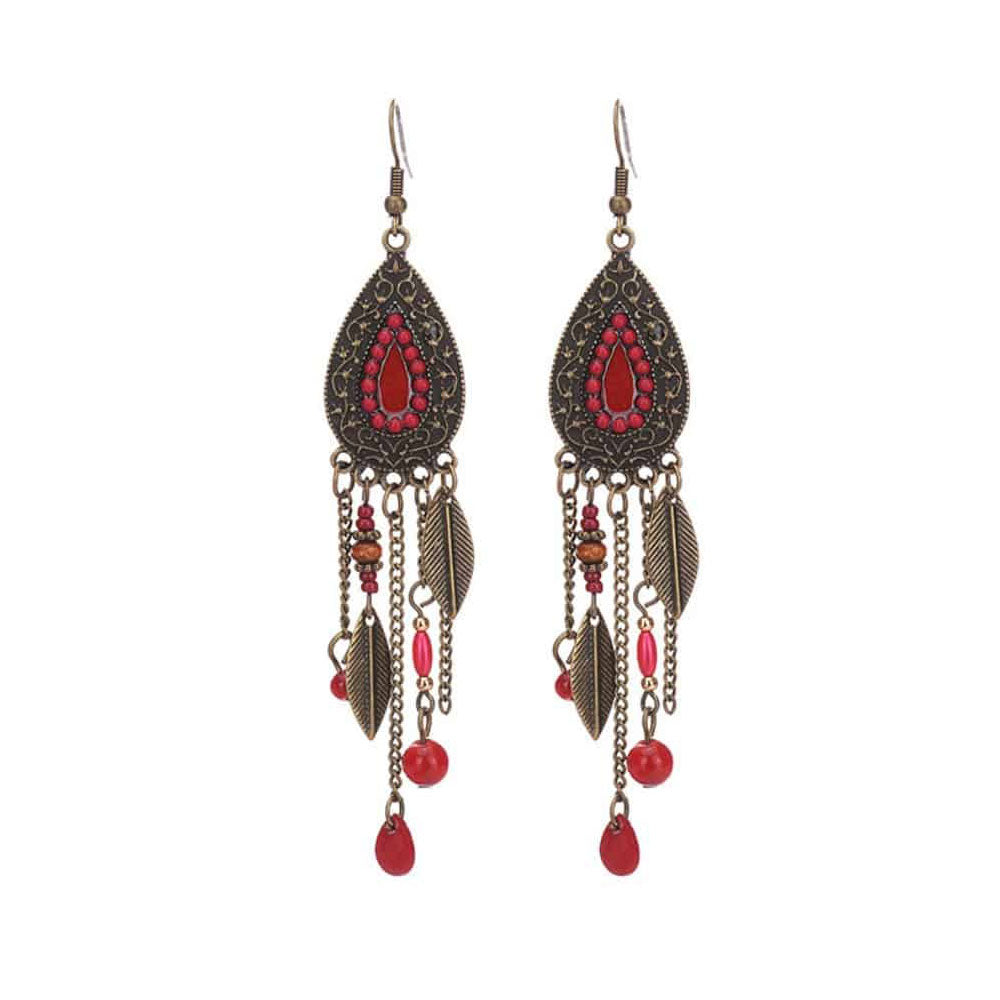 Red Tassell Bohemian Earrings - Gifti | Gifts they will love