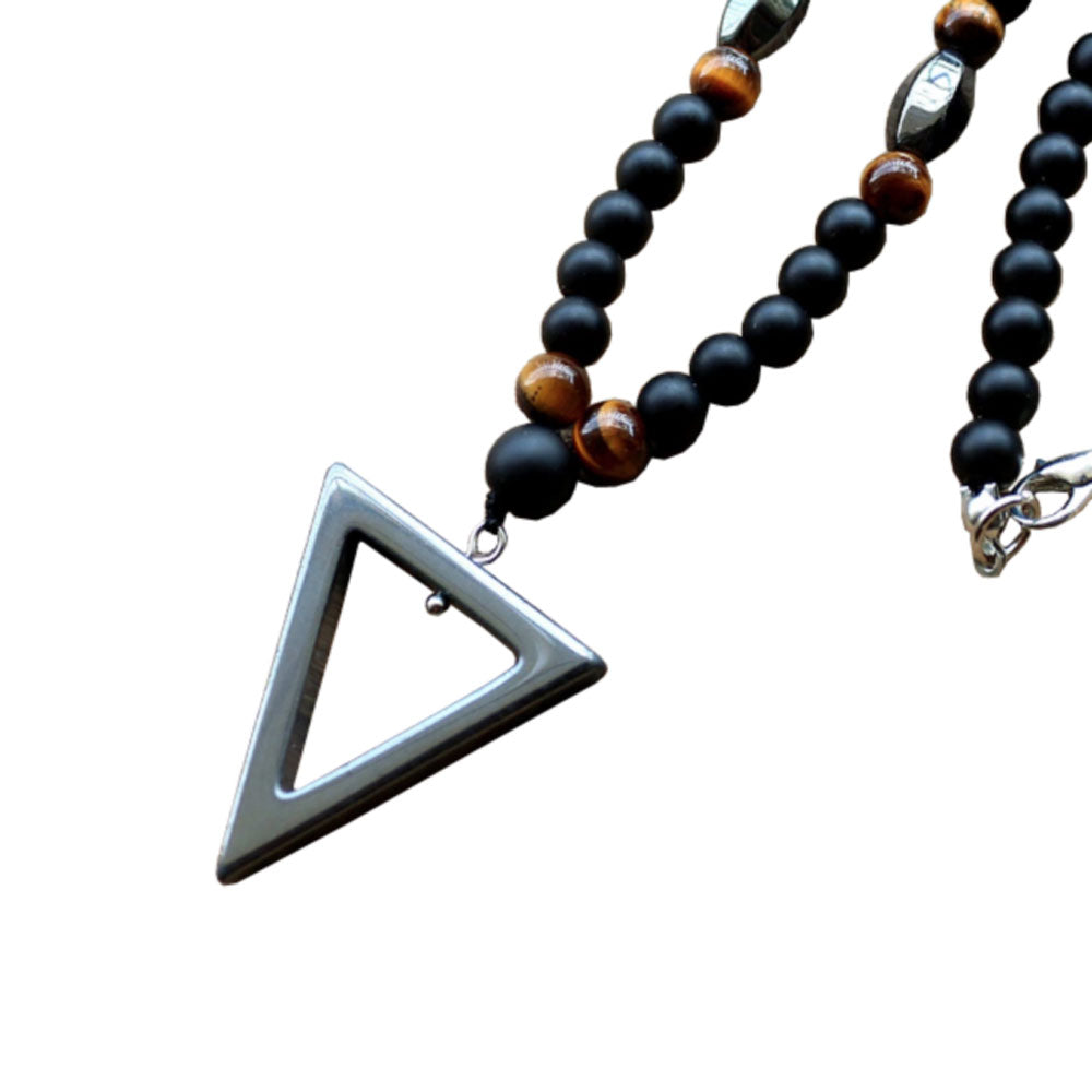 Hematite Triangle and Tigers Eye Necklace - Sharpman - Gifti | Gifts they will love