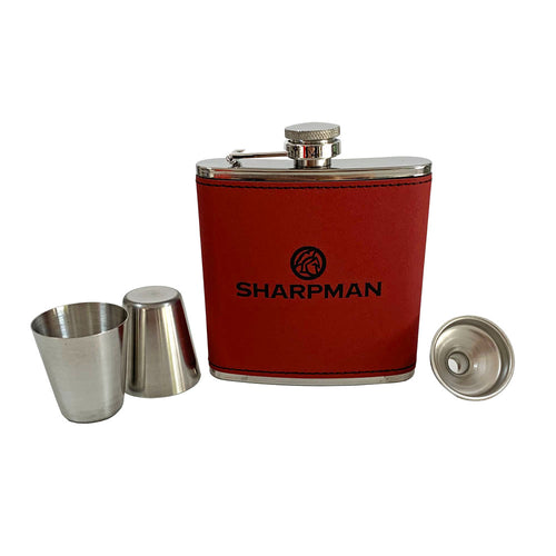 Sharpman Red Hip Flask Gift Set - Men's Gift - Gifti | Gifts they will love