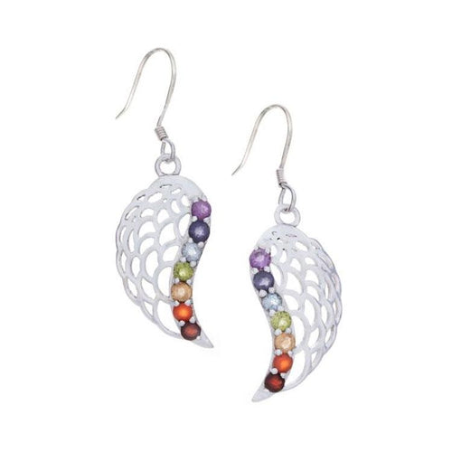 Chakra Angel Wing Earrings with Gemstones - 925 Silver - Gifti | Gifts they will love