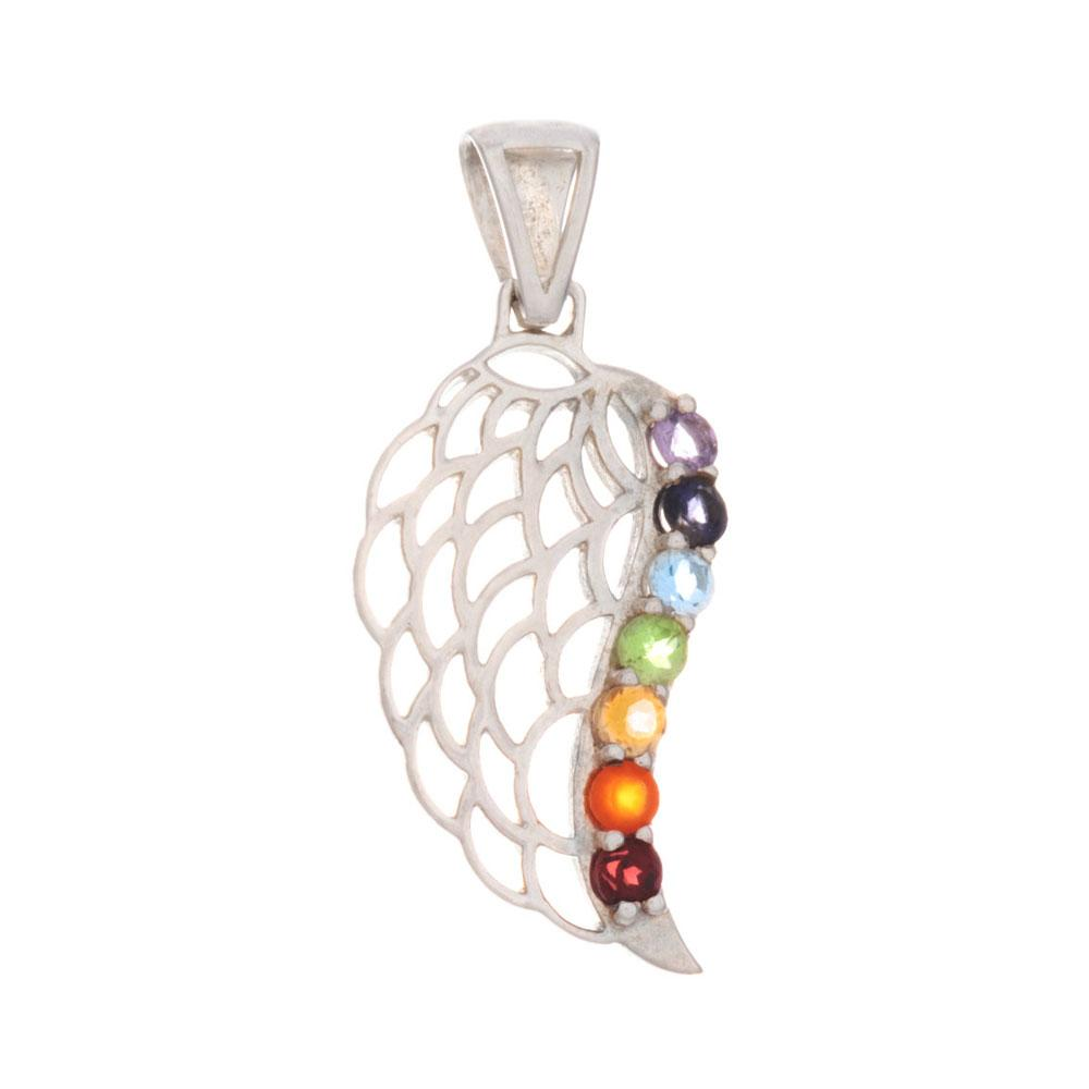 Chakra Angel Wing Pendant & Necklace with Gemstones - 925 Silver - Gifti | Gifts they will love