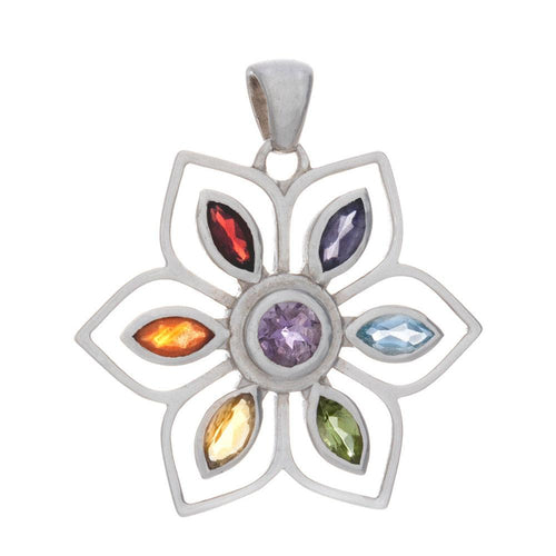 Chakra Flower Pendant & Necklace with Gemstones - 925 Silver - Gifti | Gifts they will love
