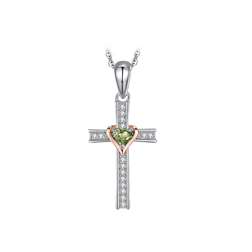 Silver Cross with Peridot and Rose Gold Plated Heart Pendant and Necklace - Gifti | Gifts they will love
