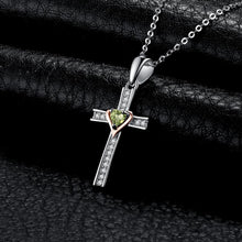 Load image into Gallery viewer, Silver Cross with Peridot and Rose Gold Plated Heart Pendant and Necklace - Gifti | Gifts they will love