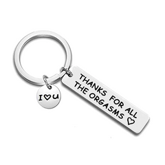 Thank You for the Orgasms Key Ring - Stainless Steel