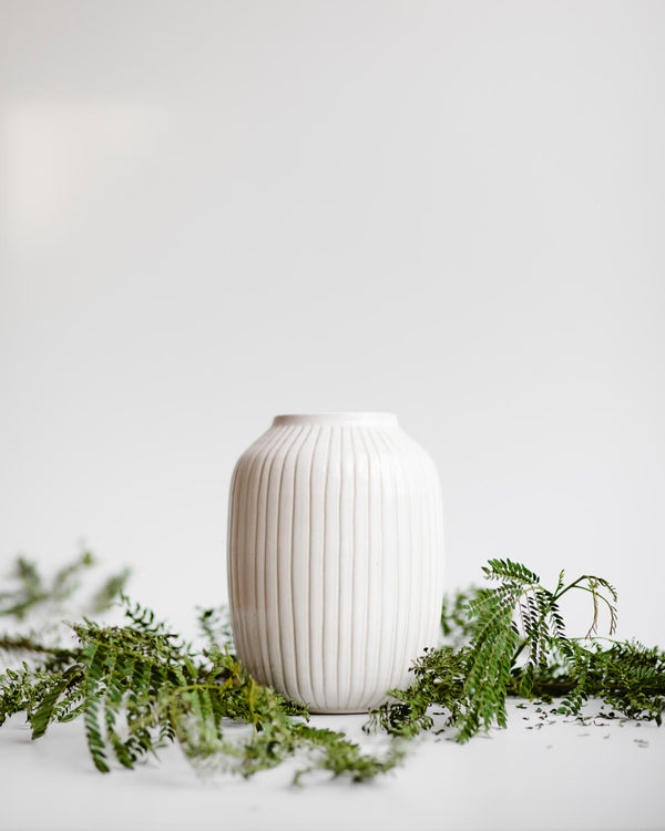 Cosmos White Ceramic Vase