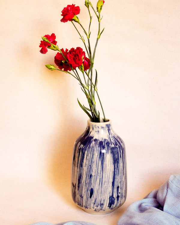 Blue Abstract Ceramic Vase