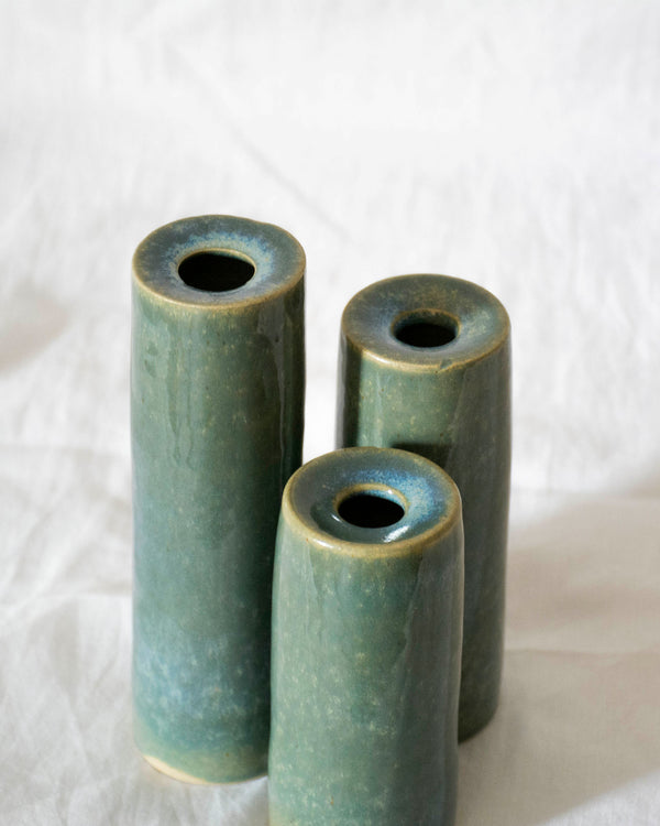 Modern Green Trio small ceramic flower vases
